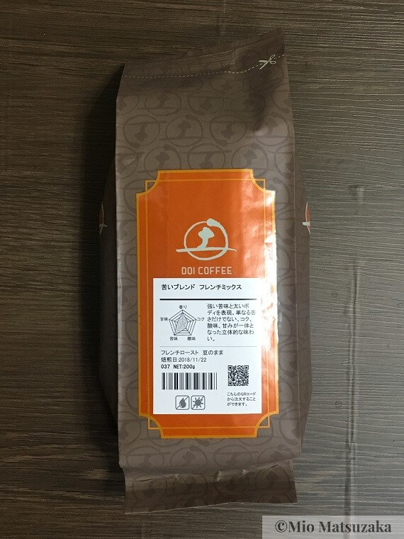 土居珈琲のコーヒー豆の外装