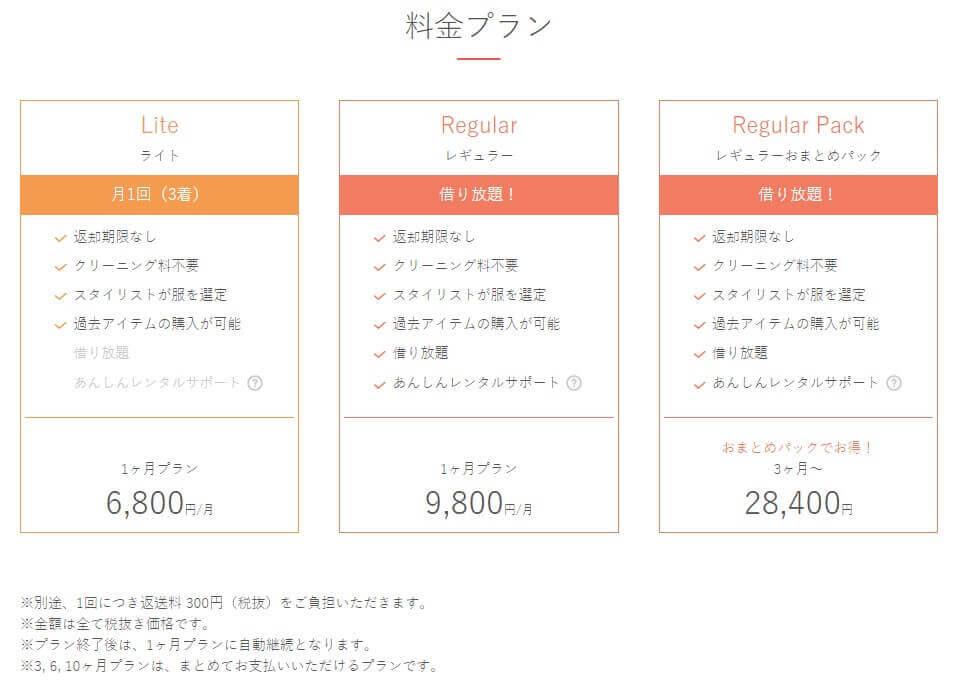 エアークローゼットの料金プラン ライト…6,800円、レギュラー9,800円、レギュラーおまとめパック28,400円