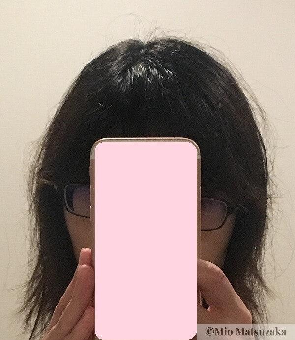 縮毛矯正でストレートになった髪の毛
