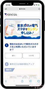 東京ガスでんきの申し込み 東京ガス利用の有無 入力画面